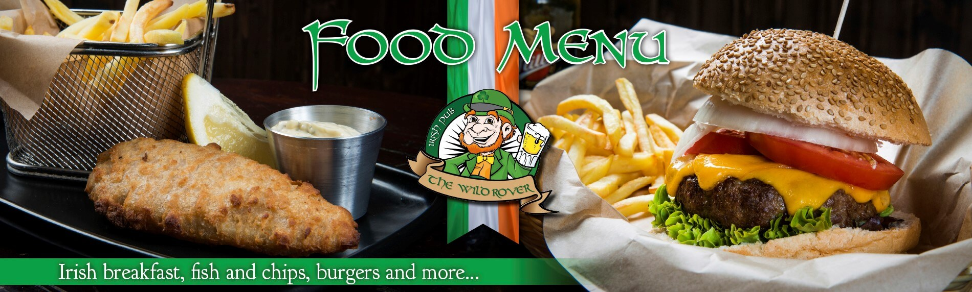 Food menu irish breakfast, fish and chips, burgers and more
