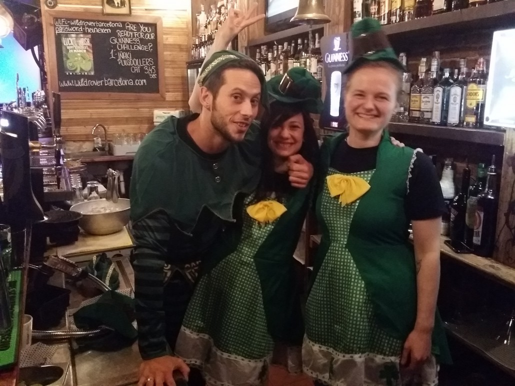 Staff Wild Rover irish pub barcelona in Sant Pratrick
