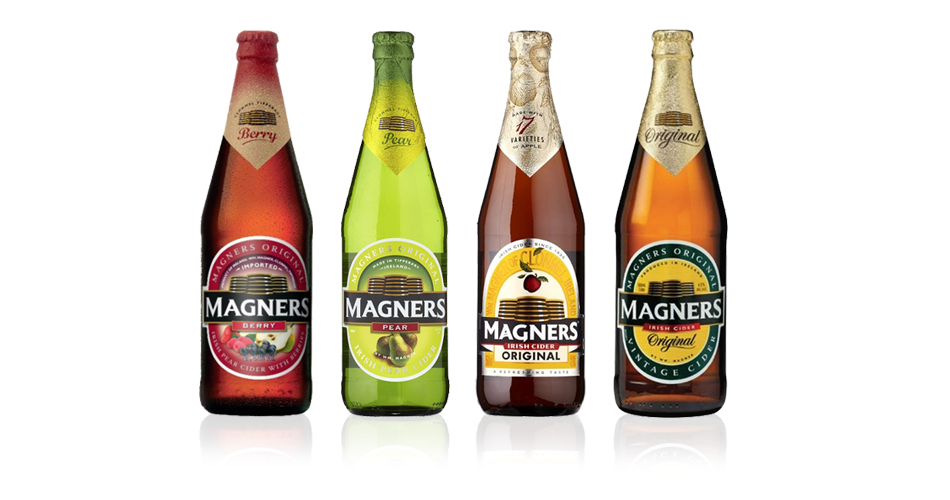 Irish bar drinks Cider Magners with different sensations