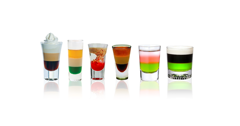 Irish bar drinks Shots with different sensations